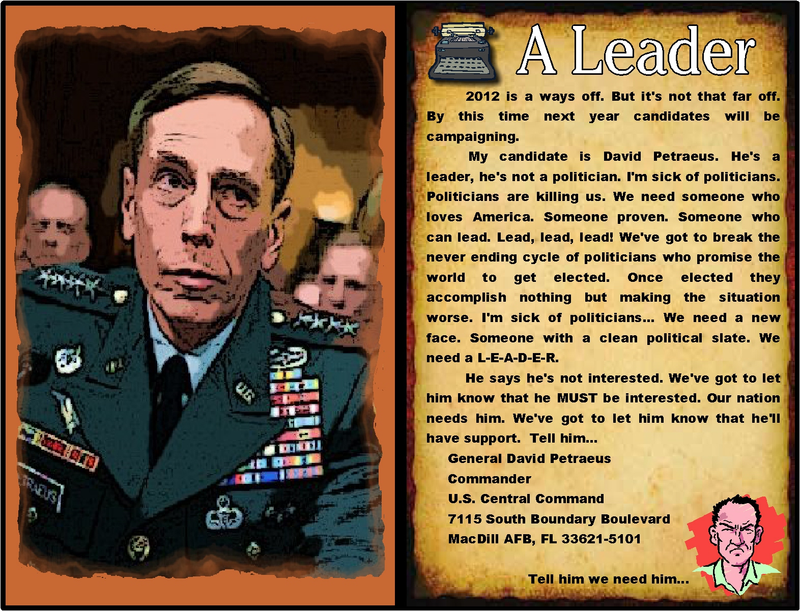 general petraeus General david petraeus has a lifetime of distinguished military service and  selfless commitment to america a four-star general, petraeus.